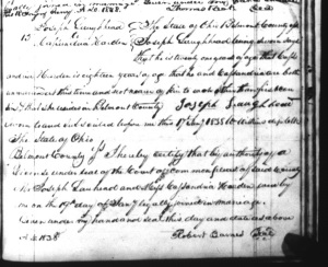 Marriage record of Joseph Laughead & Cassandria Harden, 1838, Belmont County, Ohio