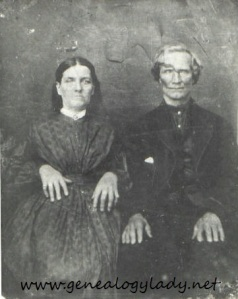 Joseph & Cassandria, photograph provided by a long lost cousin, circa 1860s