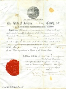 Naturalization paper for Michael Schiele, Clay county, Indiana, 1866