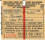 Airline ticket stub