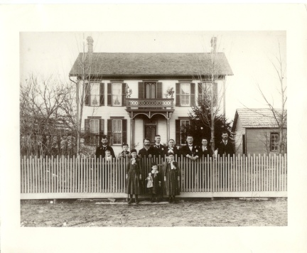 Christian Yegerlehner Family, in 1891, in front of the farmhouse in Clay County, Indiana