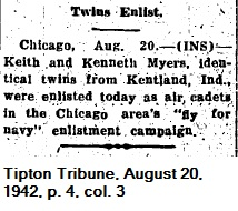 Myers twins enlist - 1942-08-20 (Tipton Tribune)