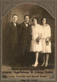 Yegerlehner, Roscoe & Gladys - Wedding picture with attendants