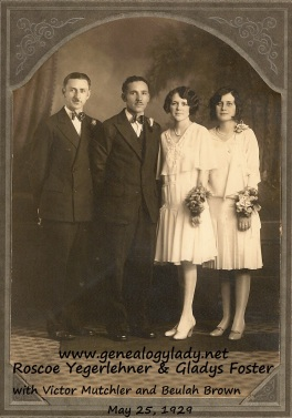 Yegerlehner, Roscoe & Gladys - Wedding picture with attendants