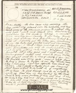 V-mail November 2, 1942