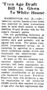 Teen Age Draft Bill - 1942-11-13
