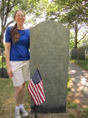 Me with my ancestor Capt. Finney Leach at Burial Hill, Plymouth.