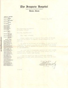 Letter from Merton E. Knisely, Director of Iroquois Hospital