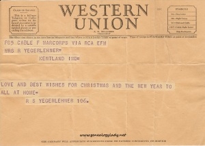 Undated Christmas telegram from 1942 or 1943