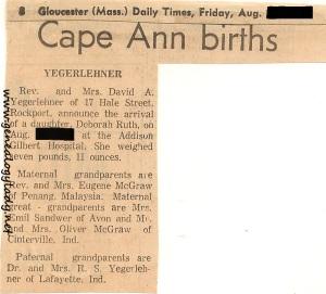 Yegerlehner, Deborah - Birth announcement, 1968