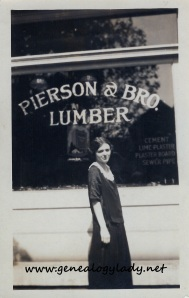 Gladys outside her office where she worked as a stenographer, c1924