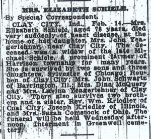 Schiele, Elizabeth (Krieble) - Obituary, 1922
