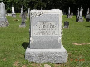 Yegerlehner, Christian & Elizabeth (Schwartz) - gravestone
