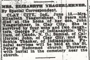 Yegerlehner, Elizabeth - Obituary, 1922
