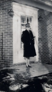 Gladys modeling the black seal coat & new hat - January 1943