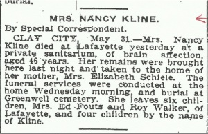 Kline, Nancy - Obituary, 1911