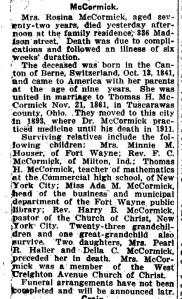 McCormick, Rosina (Yegerlehner) - Obituary - cropped