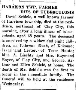 Schiele, David - Obituary, 1916-11-30