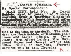 Schiele, David - Obituary, 1916 (cropped)