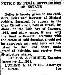 Schiele, Michael - Final estate notice, 1914-12-31