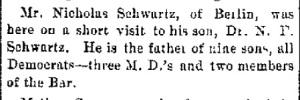 Schwartz, Nicholas - Visits son, 1887-12-15
