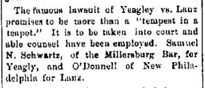 Schwartz, Samuel - Yeagly vs. Lanz, 1888-01-26