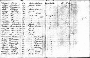 Yegerlehner, David and family - Ship manifest, 1851