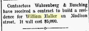 Haller, William - Fort Wayne News, 1899-07-19