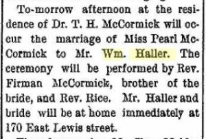 Haller, William & Pearl McCormick - Marriage annoucement, 1896-06-19