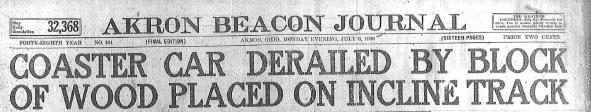Roller Coaster accident - 1918-07-08, headline