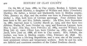 Schiele, Reuben J. - Clay co. history, p. 402
