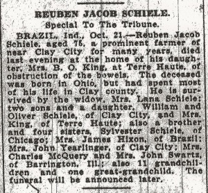 Schiele, Reuben - Obituary, 1931 (cropped)