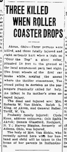 Van Sickle, Roberta - Three Killed When Roller Coaster Drops, 1918-07-08