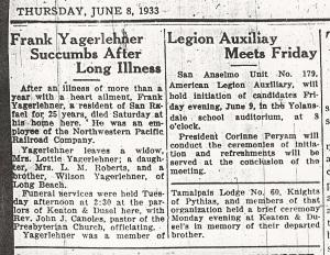 Yagerlehner, Frank - Obituary, 1933