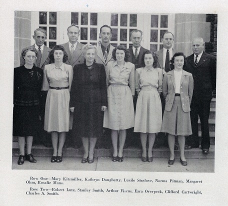 Kent High School yearbook 1948 teachers, including Miss Kitsmiller