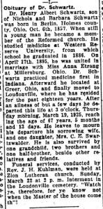 Schwartz, Henry A. - Obituary, 1925