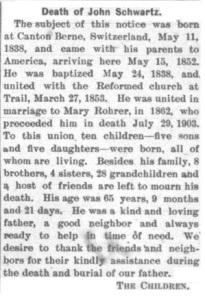 Schwartz, John - Obituary, 1904