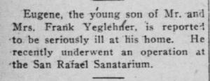 Yagerlehner, Eugene - Illness, 1920-03-04