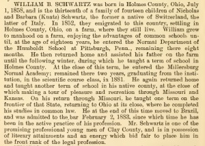 Schwartz, W. B. - Biography, 1884
