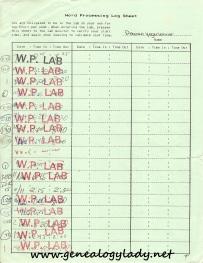 Word processing log sheet