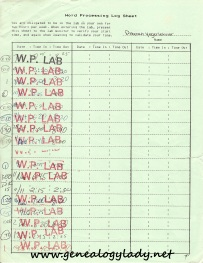 Word processing log sheet