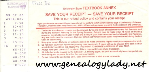 UMASS - Book receipt, 1986 (Fall)
