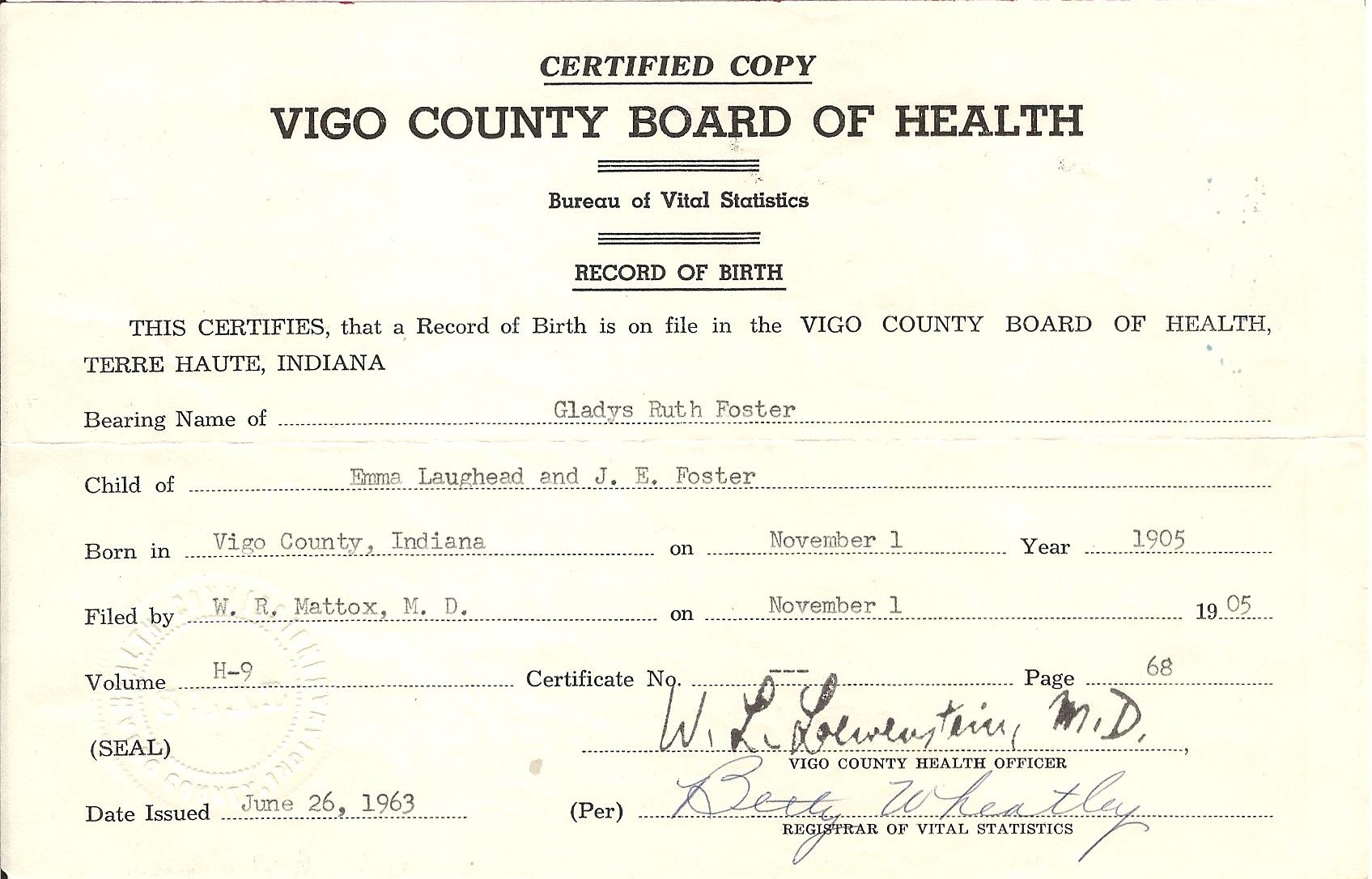 Lawhead genealogy lady foster gladys birth 1905 gladys birth certificate aiddatafo Gallery