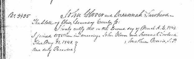 Lawhead, Susannah & John Glover - Marriage extraction, 1840