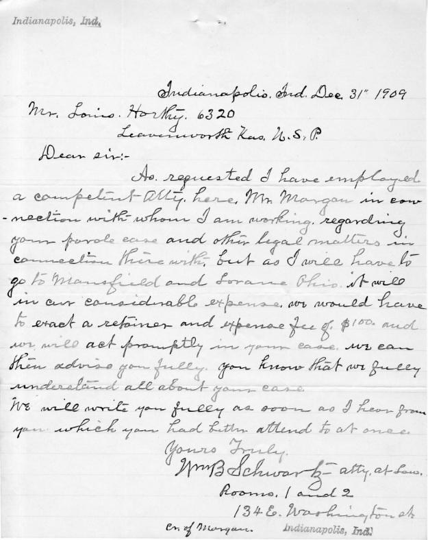 Schwartz, W. B. - 1909-12-31 Letter