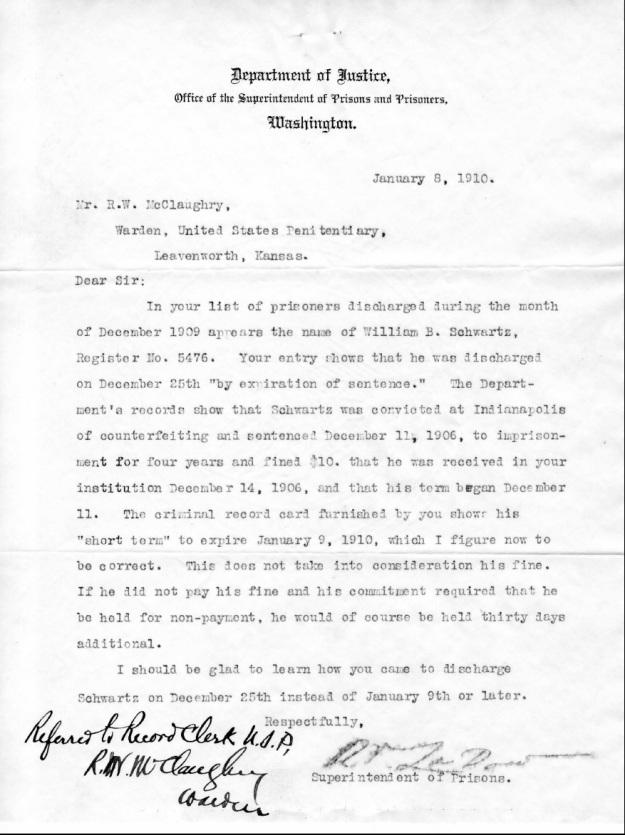 Schwartz, W. B. - 1910-01-08 Letter