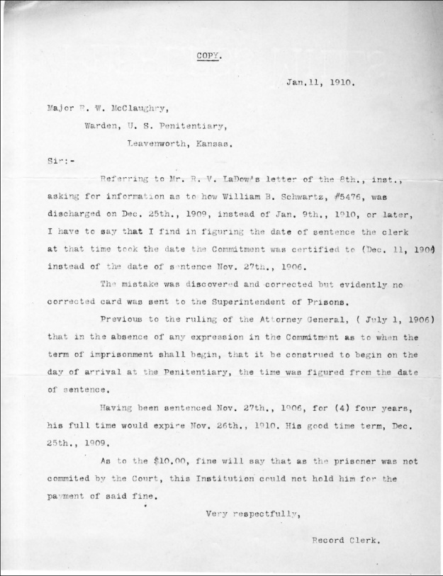 Schwartz, W. B. - 1910-01-11 Letter from Record Clerk