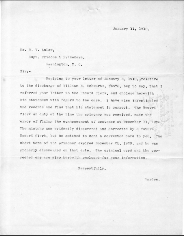 Schwartz, W. B. - 1910-01-11 Letter to R. V. LaDow from Warden