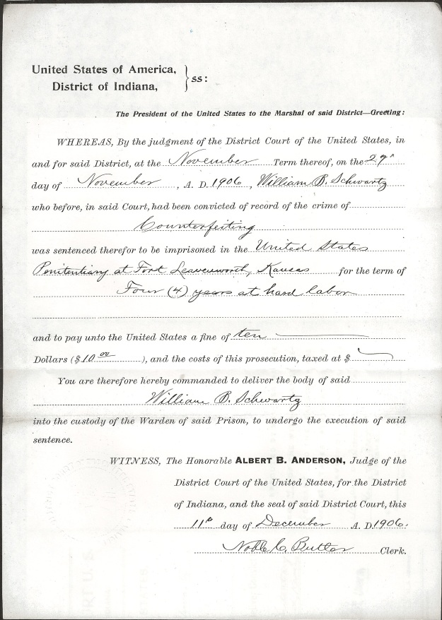 Schwartz, W. B. - Warrant to Marshal