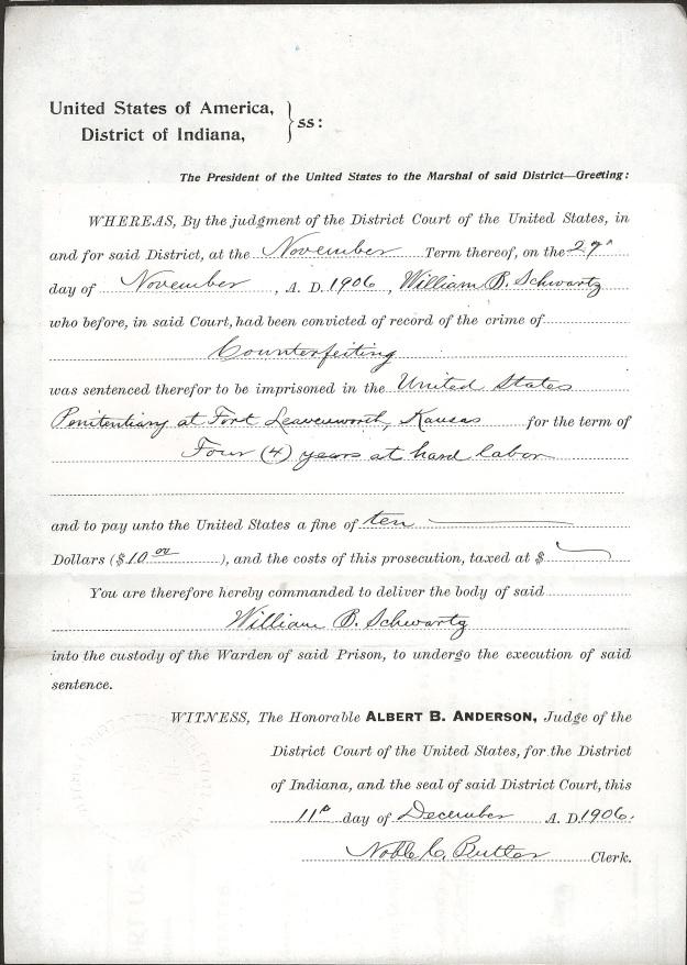 Schwartz, W. B. - Warrant to Marshal